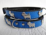 Lusy011 *WESTIE* Hunde Halsband, LEDER, Halsumfang 36-41cm, Dunkel Blau, NEU(PL.11.2.3.31)