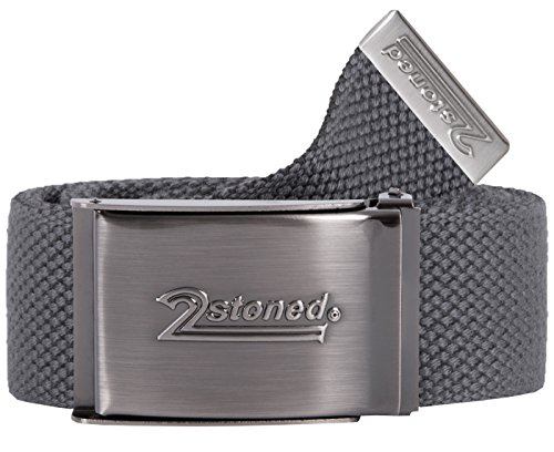 2Stoned Tresor-Gürtel Geldgürtel Dark Grey 4 cm breit Matte Schnalle Speed, Safe Belt für Damen und Herren