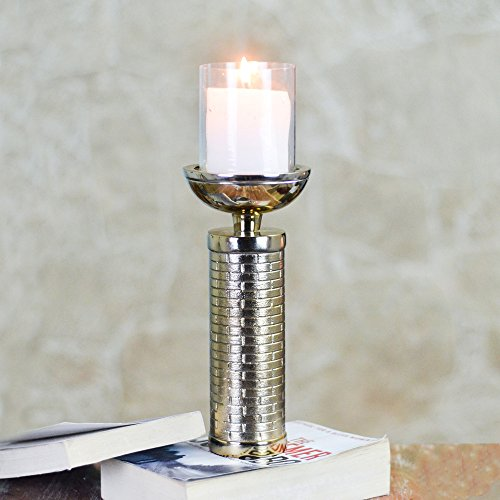 [Sponsored Products]Unique Golden Meridian Brick Pattern Glass Pillar Candle Holder And Tealight Candlesticks Home Décor Decorative Tealight Gifts Item By Casa Décor