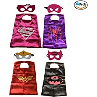4 Pack Comics Cartoon Hero Superhero Dress Up Disfraces Capas y máscaras de fieltro