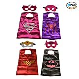 DUOPHY 4 Pack Comics Cartoon Hero Superhero Dress Up Costumi Capes and Felt Masks