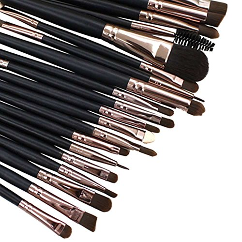 AKAAYUKO 20PCS Kit De Pinceaux Maquillage Cosmétique Professionnel Brush Beauté Brosse Lèvre d'oeil-Noir
