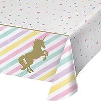 Creative Convertting 8C329302 329302 All Over Print Plastic Tablecover, Unicorn Sparkle, Paper, Multi-Coloured