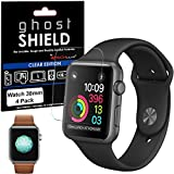 Apple Watch Screen Protectors, [Pack of 4] TECHGEAR® Apple Watch 38mm [ghostSHIELD Edition] Genuine Reinforced Flexible TPU Screen Protector Guard Covers with FULL Screen Coverage including Curved Screen Area [3D Curved Edges Protection] - for 38mm Apple Watch, Watch Sport, Watch Edition [Series 3, Series 2 & Series 1]