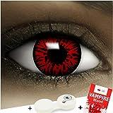 Lenti a contatto colorate'Demone' + capsule di sangue finto + portalenti per FXCONTACTS rosso, morbide, non corrette, in confezione da due: comode da indossare e ideali per Halloween o Carnevale