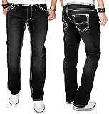A. Salvarini Herren Designer Jeans Hose schwarz dicke weisse Zier Nähte NEU AS012 [AS012 - W29 L32]