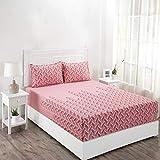 Maspar Superfine 210 TC Cotton Double Bedsheet with 2 Pillow Covers - Geometric, Pink