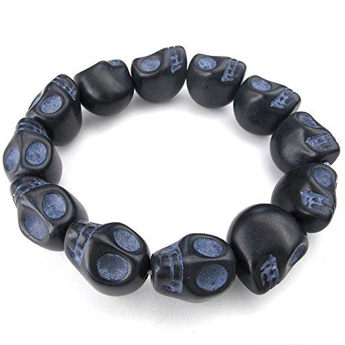 KONOV Joyería Pulsera de piedra natural para hombre, Gótico, diseño de calaveras, color negro