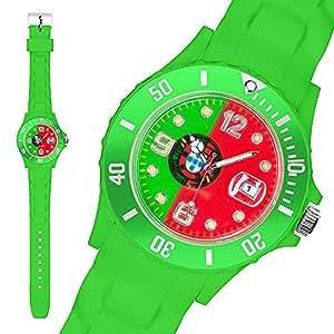 Taffstyle® Fanartikel Silikon Armbanduhr Gummi Trend Watch Quarz Fan Uhr mit Fussball Weltmeisterschaft WM & EM Europameisterschaft 2016 Länder Flaggen Style – Portugal