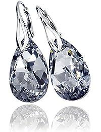 Bonitos pendientes de plata de ley con cristales de Swarovski