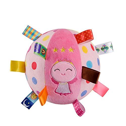 INCHANT Juguetes para Bebés Sonajeros y aros de peluche Rosado Educativos rellenos bola metálica Juguetes bolas sensoriales del bebé de la felpa suave de la bola durante 6 - 36 Meses niñito, Ángulo lindo construido en campana Juguetes de peluche