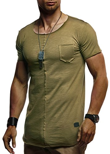 LEIF NELSON Herren Sommer T-Shirt Rundhals-Ausschnitt Slim Fit Baumwolle-Anteil | Basic Männer T-Shirt Crew Neck Hoodie-Sweatshirt Kurzarm lang | LN6288 Khaki Medium - Fashion Long Sleeve Crew Neck