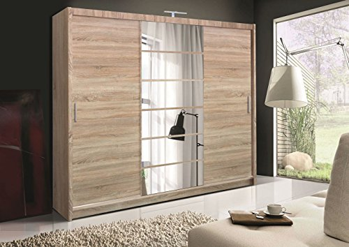 Schiebetürenschrank - Kleiderschrank - Schwebetürenschrank MALIBU Eiche Sonoma, mit Spiegel, Breite: 250 cm