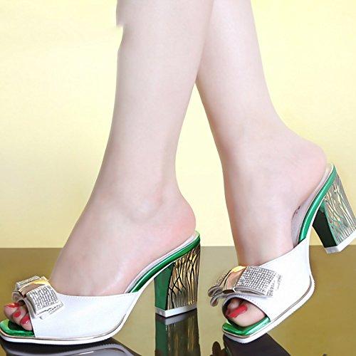 Talons hauts Chaussures féminines en mode élastique Chaussons en cuir strass avec pantoufles grossières et sèches (3 couleurs en option) (taille facultative) ( Couleur : A , taille : 37 ) B