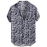 Aiserkly Haut Tendance pour Homme Imprimé léopard Poitrine Poche Confortable Col Rabattable Manches Courtes Bronwon, Bleu, Noir - Noir - L