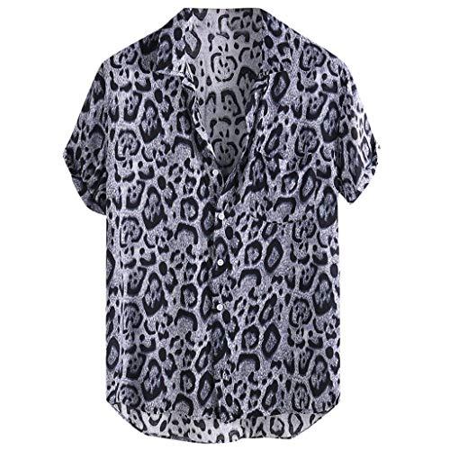 Aoogo Leopard-Print T-Shirt, Herren Kurzarm Shirts Front-Tasche Sommer Strand Freizeithemd