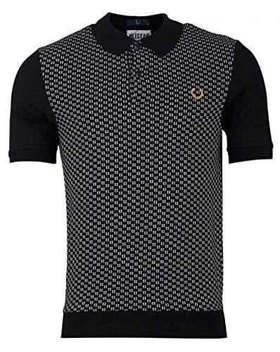 Fred Perry Miles Kane Jacquard Panel Pique Knit Polo Shirt MEDIUM Black -
