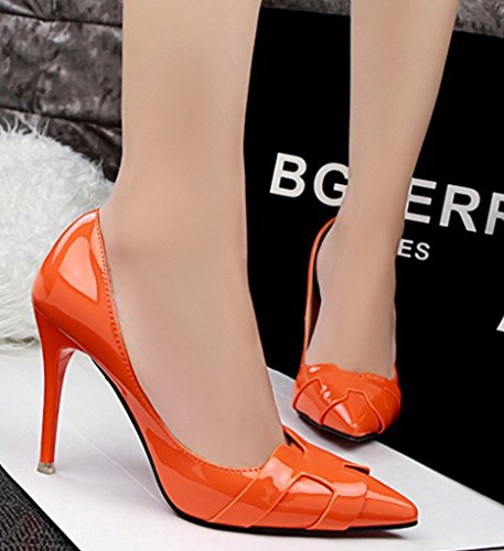 Minetom Femme Élégant Escarpins Sexy En PU Verni Talon Aiguille Haut Chaussures Travail Pumps Stiletto Orange