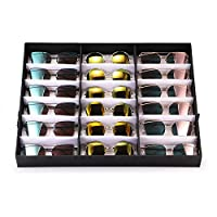 Glasses Display Case 18 Slots Eyeglasses Organizer Sorting Box Sunglasses Eyewear Storage Case Eyeglasses Storage Rack Holder Container Jewelry Watches Sunglasses Show Case Rack w/Folding Stand Tray