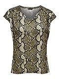 ONLY NOS Damen T-Shirt onlSILVERY Leo S/S V Neck Lurex TOP NOOS, Mehrfarbig (Warm Sand AOP: Snake Print), 42 (Herstellergröße: XL)