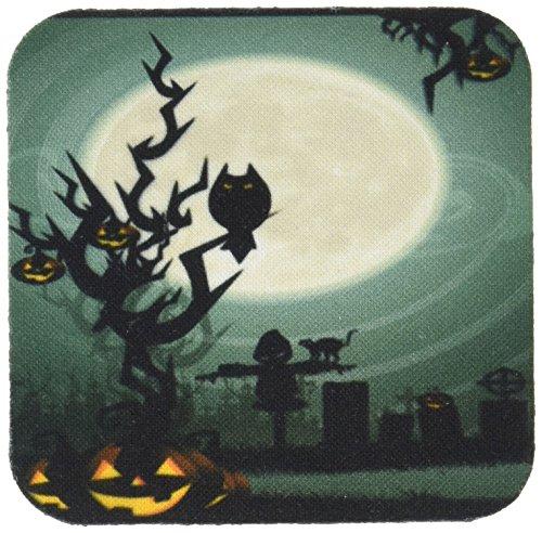 3dRose CST 153147_ 1A Scary Halloween Szene mit EIN Kürbis Haunted Baum unter einem Big Moon Weiche Untersetzer, weiß, 4Stück