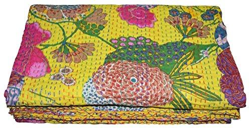 Janki Creation Queen Gudri Indische Handarbeit Quilt Vintage Tropican Fruit Print Kantha Spread Überwurf Baumwolle Decke (Lemon Gelb) Größe 90x 108, Bohemian Tagesdecke, Bohemian Kantha Quilt