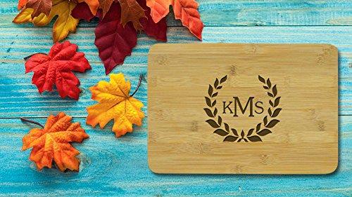 Monogramm Schneidebrett Gravur Holz Bambus Schneidebrett Mom Küche Decor Personalisierte Geschenke für Frauen (Schneidebrett Holz Monogramm)