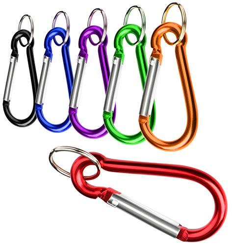 com-four® 6X Jeu de mousquetons, Mousqueton en Aluminium, Mousqueton avec Porte-clés de différentes Couleurs (6 pièces - Petites)