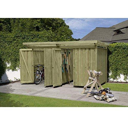 Gerätehaus Holz mit Flachdach Typ-4 387 x 224 cm mit zwei Räumen von Gartenpirat®