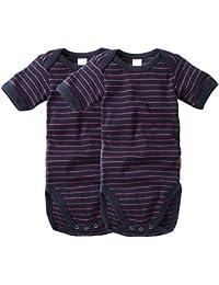 wellyou, 2er Set Kinder Baby-Body Kurzarm-Body, marine-blau neon-pink gestreift, geringelt, Feinripp 100% Baumwolle