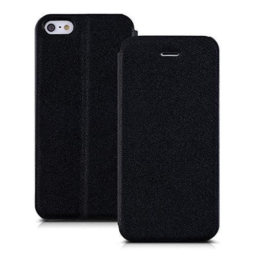 kwmobile Hülle für Apple iPhone SE / 5 / 5S - Flipcover Case Handy Schutzhülle Kunstleder - Bookstyle Flip Cover Schwarz .Schwarz