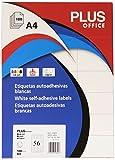 Plus-Office 10691 etichette autoadesive ciottoli dritti, cassa/5600 STI, 52,5 x 21 mm, colore: bianco