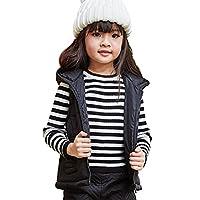 NABER Girls' Kids Warm Autumn Winter Hooded Gilets Jackets Vest Tops Coat Outerwear (11-12 years, Black)