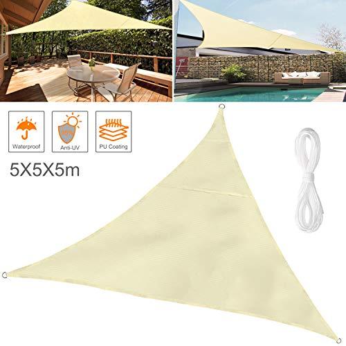Wokkol tende da sole per esterno, tende da sole, tenda parasole esterno, vela ombreggiante, protezione raggi uv vela tenda, impermeabile, tenda a vela per giardino balcone terrazza (5x5x5m)