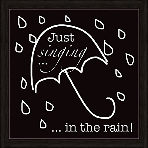 Artland Wand-Bild Poster Kunstdruck mit Rahmen Jule Singen im Regen Statement Bilder Sprüche & Texte Graphische Kunst Schwarz/Weiß A7OO