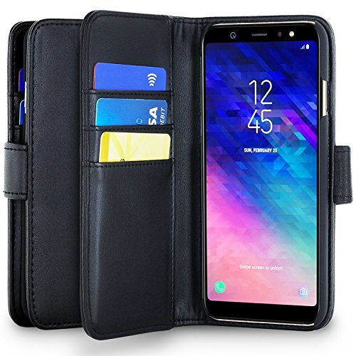 Olixar Samsung Galaxy A6 Plus 2018 Wallet Case - PU Faux Leather - Slim Protective Cover - Card Storage Slots and Built In Media Viewing Stand Leather Style - Black -