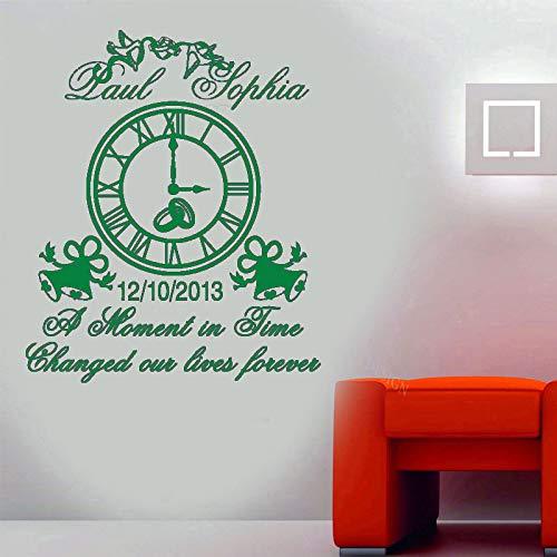 guijiumai Personalisierte Name und Datum Hochzeit Wand Vinyl Aufkleber Uhr Glocke Dekoration Hochzeit Zitate Gratulation Deco 7 L 57x68cm
