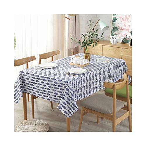 Tablecloth Rechteckige Tischdecke, Tischdecke mit blauem Fisch, Antifouling, leicht zu reinigen, romantisch, elegant, warmes Zuhause 140 cm * 180 cm (Design : A) - Damast-speicher