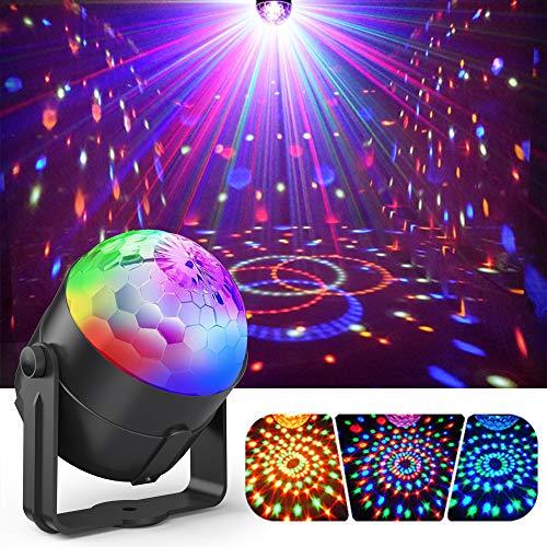 Discokugel,Gvoo LED Party Licht Disco Party Licht 7 Farbenkonbinationen aus 3 Farben,Bühnenbeleuchtung Effektlicht, für Urlaub Party Kinder Geburtstag Karaoke Club Lichteffekte Weihnach