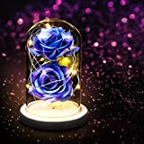 Yinuoday Fiore di Rosa in Vetro a Cupola W/LED luci Regalo per lei, Compleanno, Matrimonio, San...