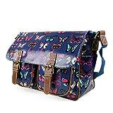 Miss Lulu Womens Oilcloth Satchel Bag Butterfly Navy
