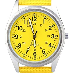 Orkina Womens Silver Case Yellow Dial Quartz Nylon Fabric Band Fashion Wrist Watch P104SY