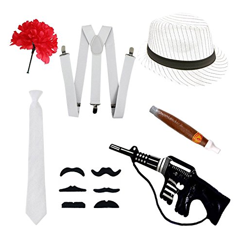 Gangster Fancy Kleid Set-Trilby Hut, Krawatte, Hosenträger, Zigarre, Schnurrbart & ()