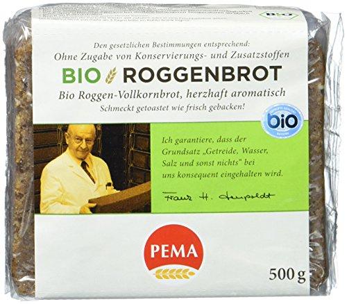 PEMA Bio Roggenbrot mit 100 % Roggen aus ökologischem Anbau, herzhaft-aromatisch, 6er Pack (6 x 500 g) - Roggenbrot