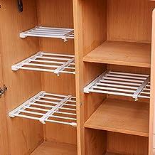 DIY Adjustable Scalable Wardrobe Cupboard Shelves Storage Rack Refrigerator Bookcase Compartment Divider,Width 24CM (Length Stretch:50-80CM)