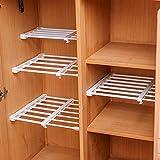 Estantes móviles y ajustables para que los coloques tú mismo. Ideales para tu armario, refrigerador o biblioteca. 24cm de ancho Length Stretch:50-80CM