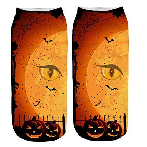 Skxinn Unisex Winter Sportsocken,Halloween Pumpkin Bedruckte Kurze Socken/Lässige Niedliche Söckchen für Frauen,Weihnachtsdruck 3D Socken(Z02-D) (2019 Einzigartige Kleinkind-halloween-kostüme)