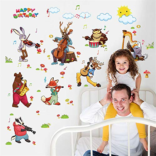Happy Birthday Music Concert Animals Wall Sticker home Decoration Cartoon Tatoos Home Decoration Decals Wall Art Sticker Poster