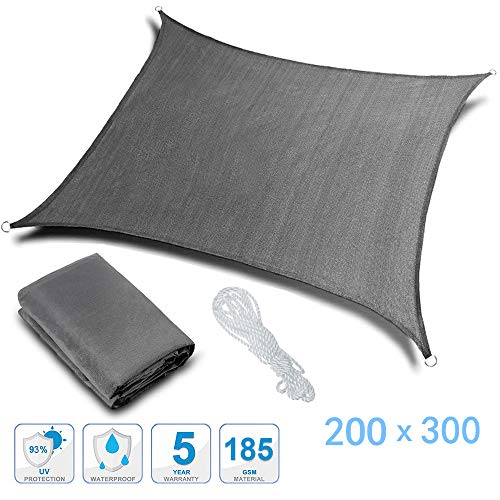 Voile d'ombrage Rovtop Toile Solaire Rectangular-2 x 3M avec Longue Corde Blanche 6M et Sac Portable, Imperméable et Résistante,...