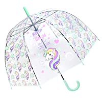Unicorn Clear Umbrella for Kids Clear Dome Umbrella Windproof Auto Open for Outdoor Weddings Birthday Present Christmas Gift Party
